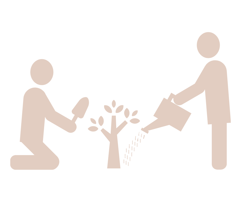 two cut out figures, planting together showing how I can Helping you Plan using strategic support for small businesses
