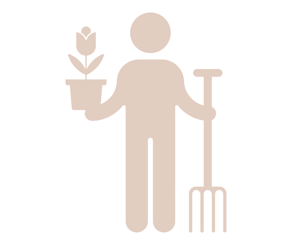 a cut out person holding a plant to demonstrate how working with me can offer strategic support for small businesses