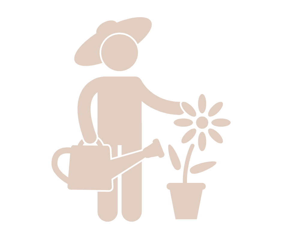 a cut out gardener, nurturing a flower showing how your business can grow working with me on strategic support for small businesses